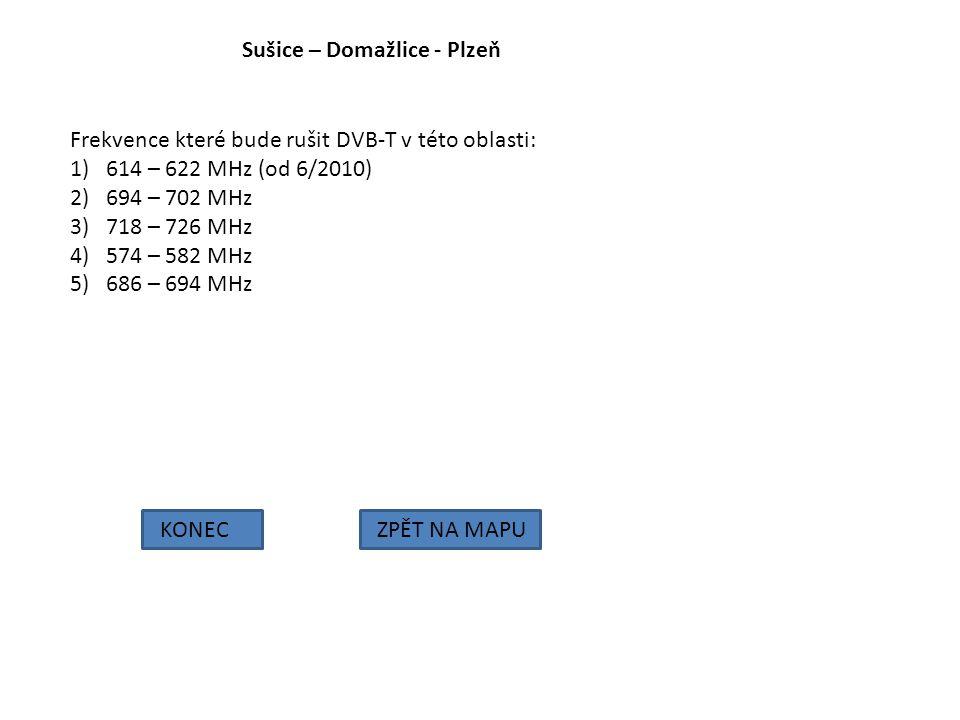 Sušice – Domažlice - Plzeň KONECZPĚT NA MAPU Frekvence které bude rušit DVB-T v této oblasti: 1)614 – 622 MHz (od 6/2010) 2)694 – 702 MHz 3)718 – 726
