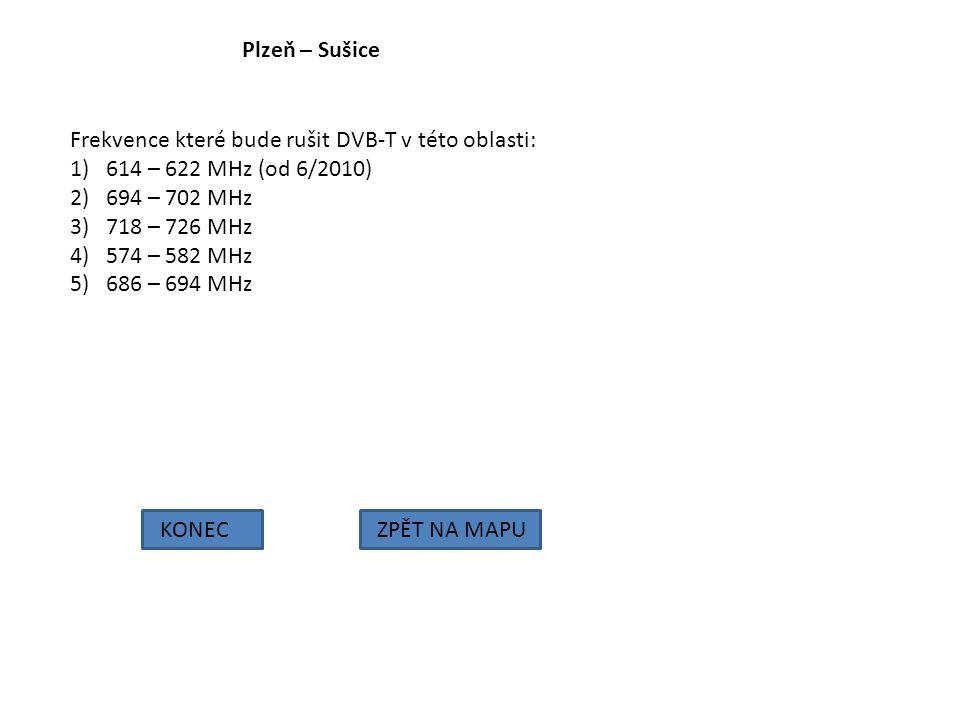 Plzeň – Sušice KONECZPĚT NA MAPU Frekvence které bude rušit DVB-T v této oblasti: 1)614 – 622 MHz (od 6/2010) 2)694 – 702 MHz 3)718 – 726 MHz 4)574 –