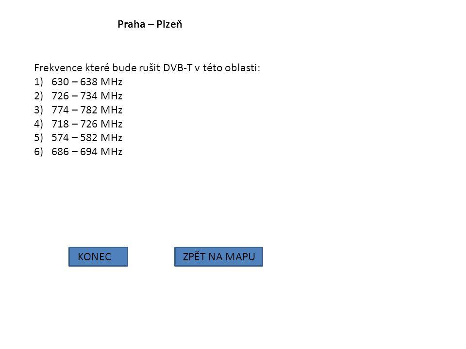 Praha – Plzeň KONECZPĚT NA MAPU Frekvence které bude rušit DVB-T v této oblasti: 1)630 – 638 MHz 2)726 – 734 MHz 3)774 – 782 MHz 4)718 – 726 MHz 5)574