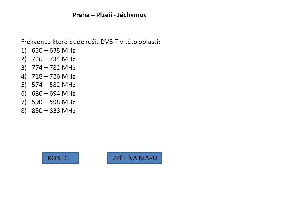 Praha – Plzeň - Jáchymov KONECZPĚT NA MAPU Frekvence které bude rušit DVB-T v této oblasti: 1)630 – 638 MHz 2)726 – 734 MHz 3)774 – 782 MHz 4)718 – 72