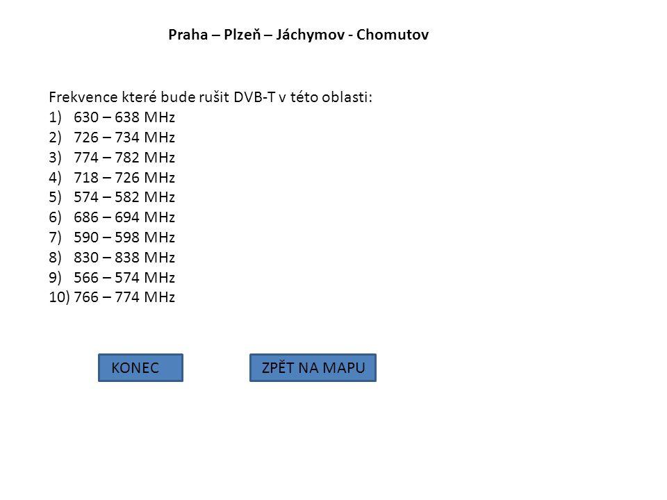 Praha – Plzeň – Jáchymov - Chomutov KONECZPĚT NA MAPU Frekvence které bude rušit DVB-T v této oblasti: 1)630 – 638 MHz 2)726 – 734 MHz 3)774 – 782 MHz