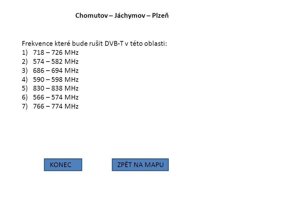 Chomutov – Jáchymov – Plzeň KONECZPĚT NA MAPU Frekvence které bude rušit DVB-T v této oblasti: 1)718 – 726 MHz 2)574 – 582 MHz 3)686 – 694 MHz 4)590 –