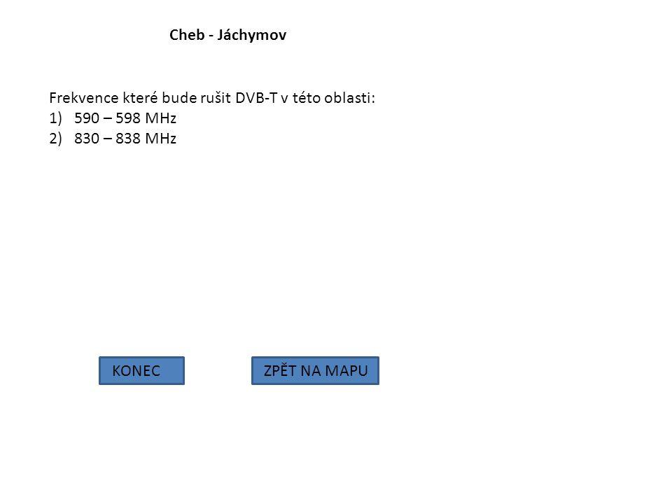 Cheb - Jáchymov KONECZPĚT NA MAPU Frekvence které bude rušit DVB-T v této oblasti: 1)590 – 598 MHz 2)830 – 838 MHz
