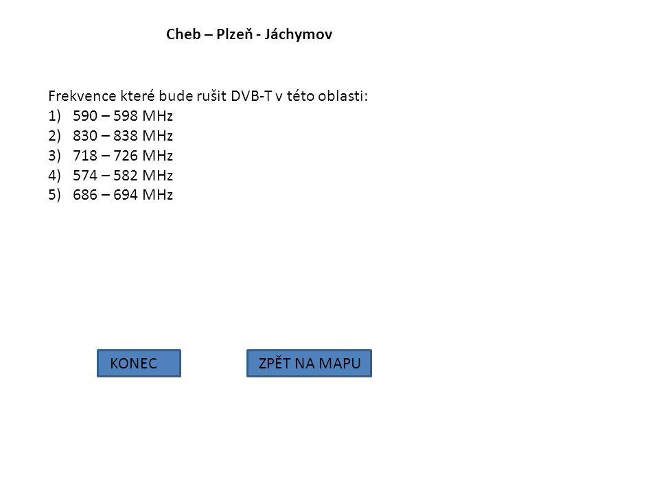 Cheb – Plzeň - Jáchymov KONECZPĚT NA MAPU Frekvence které bude rušit DVB-T v této oblasti: 1)590 – 598 MHz 2)830 – 838 MHz 3)718 – 726 MHz 4)574 – 582