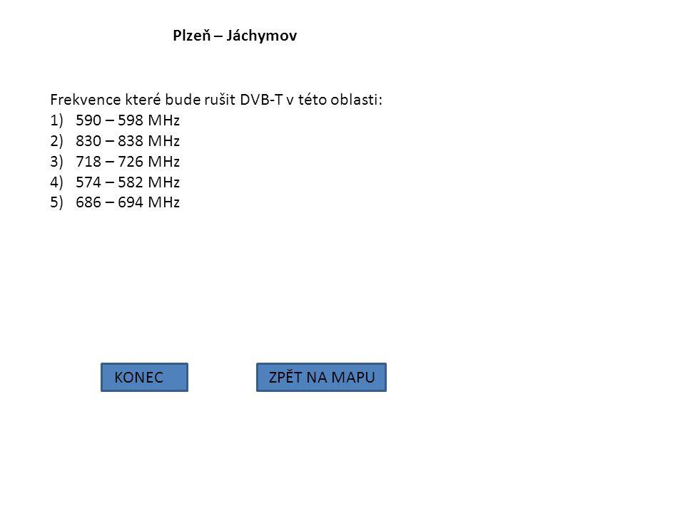 Plzeň – Jáchymov KONECZPĚT NA MAPU Frekvence které bude rušit DVB-T v této oblasti: 1)590 – 598 MHz 2)830 – 838 MHz 3)718 – 726 MHz 4)574 – 582 MHz 5)