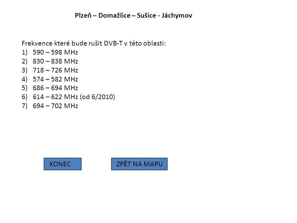 Plzeň – Domažlice – Sušice - Jáchymov KONECZPĚT NA MAPU Frekvence které bude rušit DVB-T v této oblasti: 1)590 – 598 MHz 2)830 – 838 MHz 3)718 – 726 M