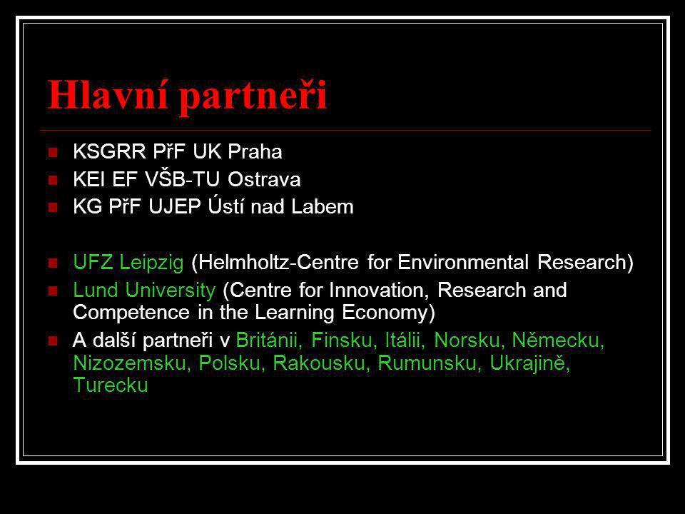 Hlavní partneři  KSGRR PřF UK Praha  KEI EF VŠB-TU Ostrava  KG PřF UJEP Ústí nad Labem  UFZ Leipzig (Helmholtz-Centre for Environmental Research)  Lund University (Centre for Innovation, Research and Competence in the Learning Economy)  A další partneři v Británii, Finsku, Itálii, Norsku, Německu, Nizozemsku, Polsku, Rakousku, Rumunsku, Ukrajině, Turecku
