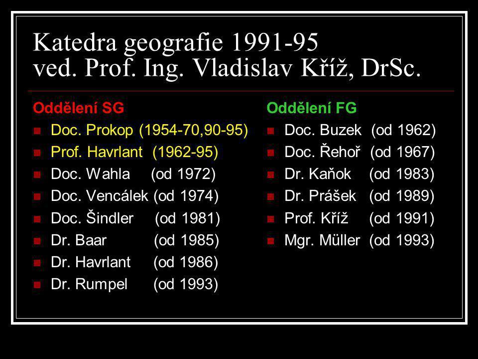 Katedra geografie 1991-95 ved. Prof. Ing. Vladislav Kříž, DrSc. Oddělení SG  Doc. Prokop (1954-70,90-95)  Prof. Havrlant (1962-95)  Doc. Wahla (od