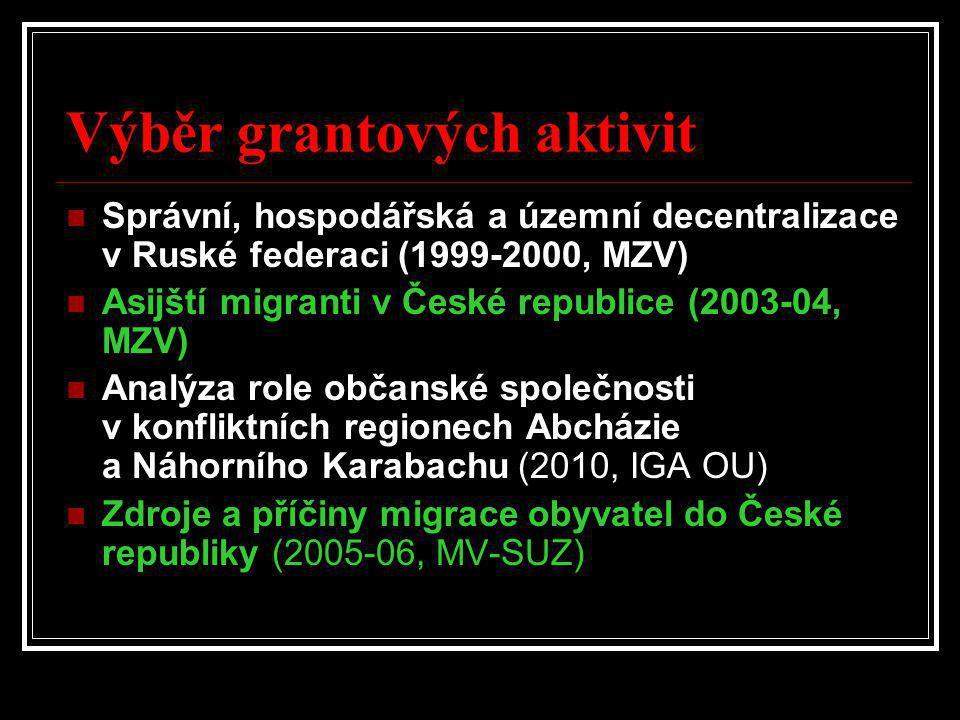 Výběr grantových aktivit  Správní, hospodářská a územní decentralizace v Ruské federaci (1999-2000, MZV)  Asijští migranti v České republice (2003-0