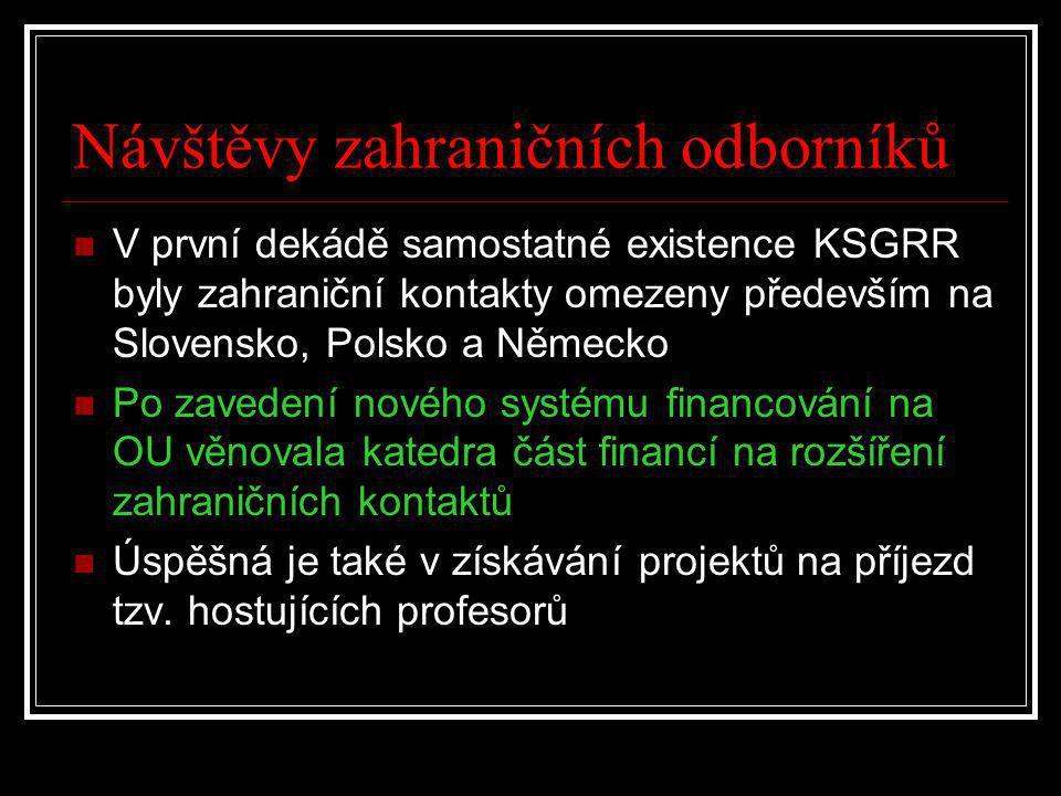 Návštěvy zahraničních odborníků  V první dekádě samostatné existence KSGRR byly zahraniční kontakty omezeny především na Slovensko, Polsko a Německo  Po zavedení nového systému financování na OU věnovala katedra část financí na rozšíření zahraničních kontaktů  Úspěšná je také v získávání projektů na příjezd tzv.