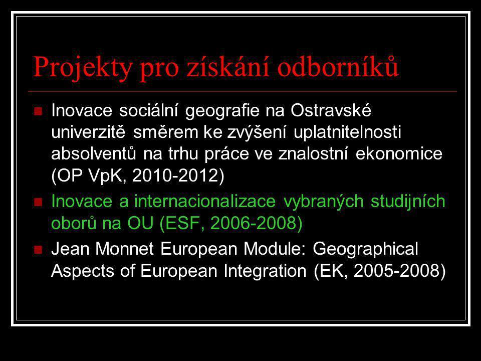Projekty pro získání odborníků  Inovace sociální geografie na Ostravské univerzitě směrem ke zvýšení uplatnitelnosti absolventů na trhu práce ve znalostní ekonomice (OP VpK, 2010-2012)  Inovace a internacionalizace vybraných studijních oborů na OU (ESF, 2006-2008)  Jean Monnet European Module: Geographical Aspects of European Integration (EK, 2005-2008)