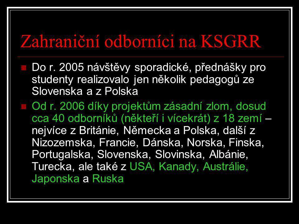 Zahraniční odborníci na KSGRR  Do r. 2005 návštěvy sporadické, přednášky pro studenty realizovalo jen několik pedagogů ze Slovenska a z Polska  Od r