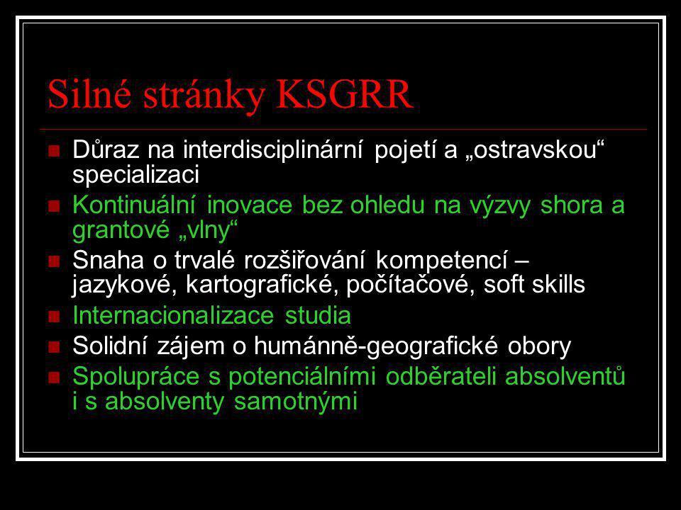 """Silné stránky KSGRR  Důraz na interdisciplinární pojetí a """"ostravskou"""" specializaci  Kontinuální inovace bez ohledu na výzvy shora a grantové """"vlny"""""""