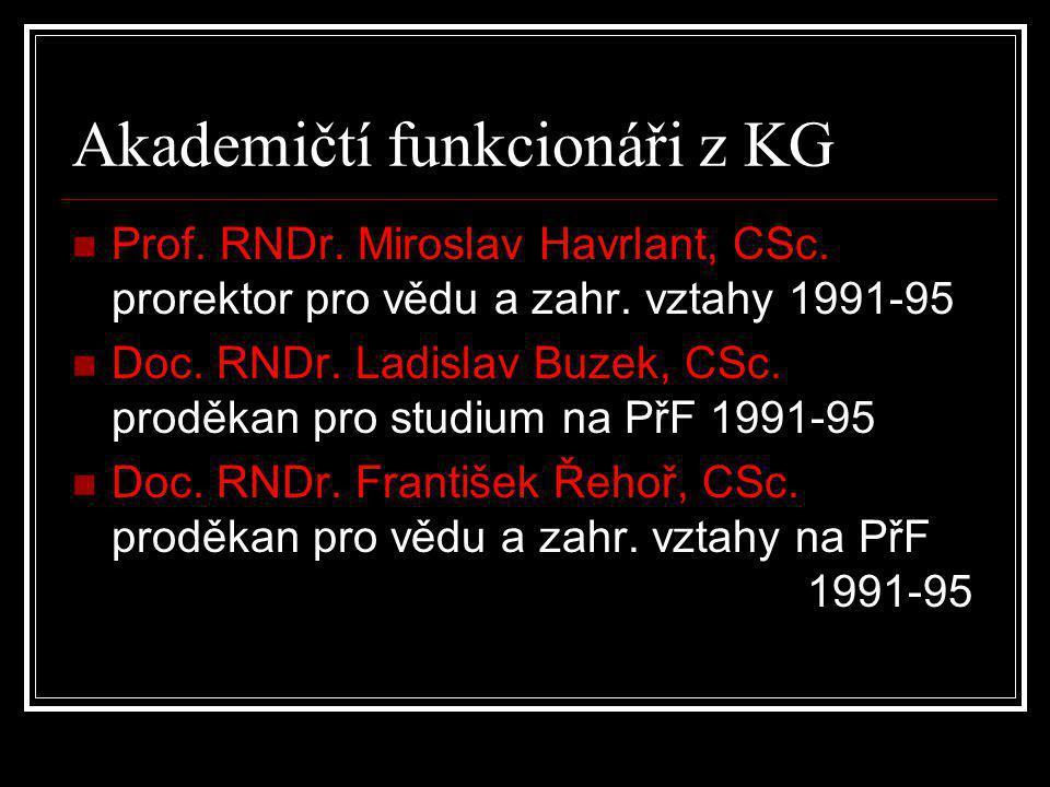 Akademičtí funkcionáři z KG  Prof. RNDr. Miroslav Havrlant, CSc. prorektor pro vědu a zahr. vztahy 1991-95  Doc. RNDr. Ladislav Buzek, CSc. proděkan