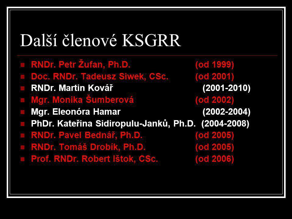 Další členové KSGRR  RNDr. Petr Žufan, Ph.D. (od 1999)  Doc. RNDr. Tadeusz Siwek, CSc. (od 2001)  RNDr. Martin Kovář (2001-2010)  Mgr. Monika Šumb
