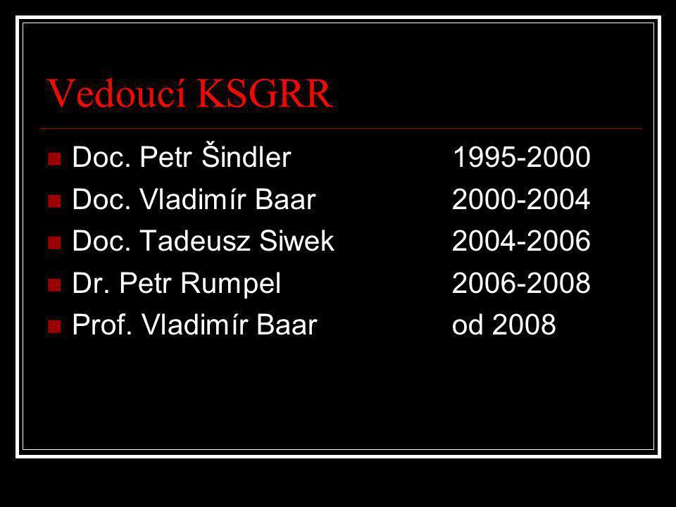 Vedoucí KSGRR  Doc. Petr Šindler1995-2000  Doc. Vladimír Baar2000-2004  Doc. Tadeusz Siwek2004-2006  Dr. Petr Rumpel2006-2008  Prof. Vladimír Baa