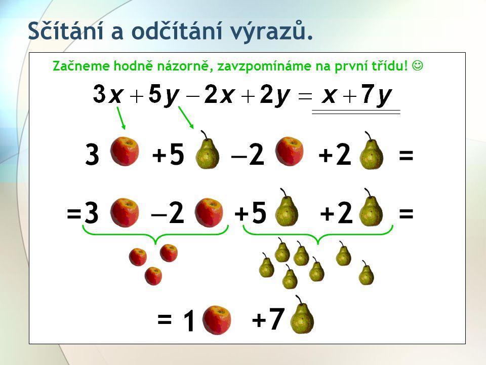 Sčítání a odčítání výrazů. Začneme hodně názorně, zavzpomínáme na první třídu!  3 +5 22 +2= =3 22 +5+2 = =1 +7 =