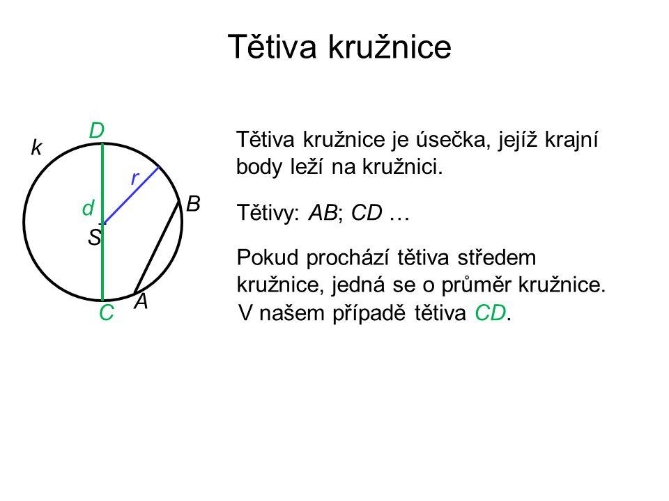 Tětiva kružnice k Tětiva kružnice je úsečka, jejíž krajní body leží na kružnici. B A + S r d Tětivy: AB; CD … Pokud prochází tětiva středem kružnice,