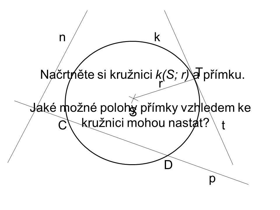 Načrtněte si kružnici k(S; r) a přímku. Jaké možné polohy přímky vzhledem ke kružnici mohou nastat? S r k T p n t D C