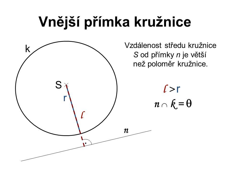 Vnější přímka kružnice Vzdálenost středu kružnice S od přímky n je větší než poloměr kružnice. S r k n l l > r n  k = .