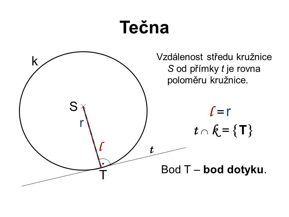 Tečna Vzdálenost středu kružnice S od přímky t je rovna poloměru kružnice. S r k t l l = r t  k =  T . T Bod T – bod dotyku.