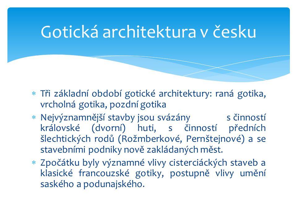  Tři základní období gotické architektury: raná gotika, vrcholná gotika, pozdní gotika  Nejvýznamnější stavby jsou svázány s činností královské (dvo