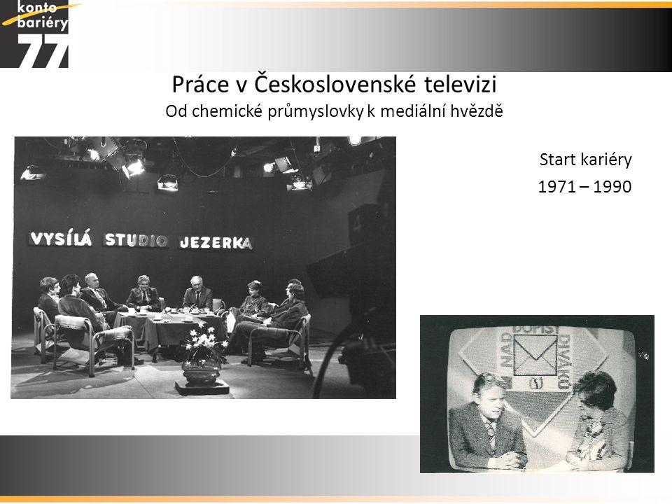 Práce v Československé televizi Od chemické průmyslovky k mediální hvězdě Start kariéry 1971 – 1990