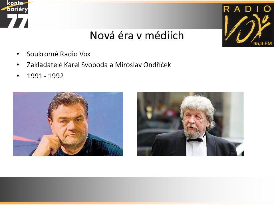 Nová éra v médiích • Soukromé Radio Vox • Zakladatelé Karel Svoboda a Miroslav Ondříček • 1991 - 1992
