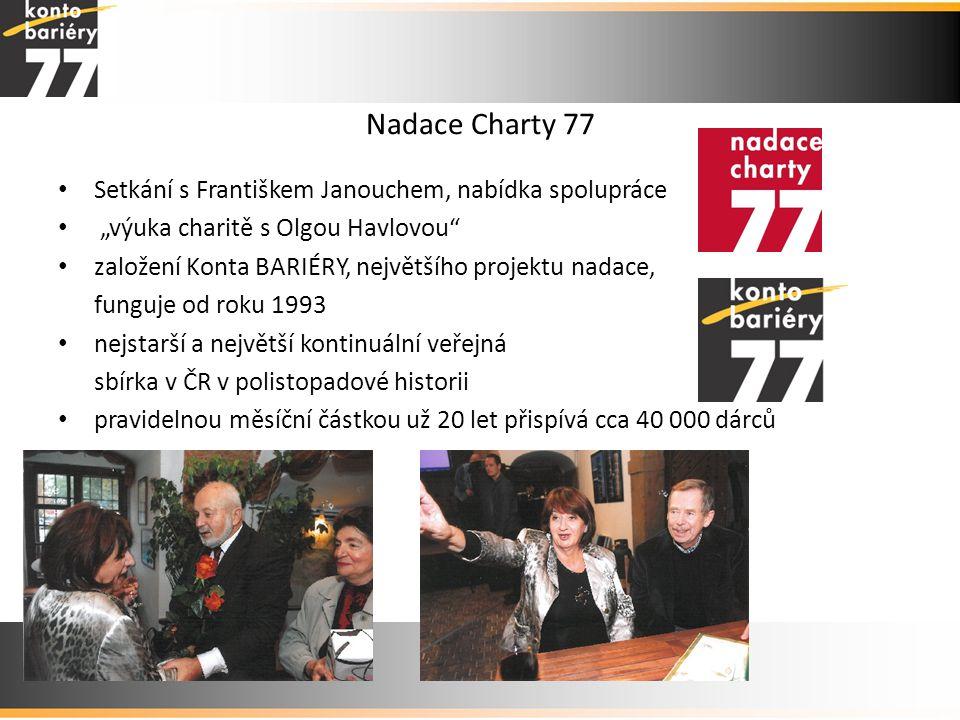 """Nadace Charty 77 • Setkání s Františkem Janouchem, nabídka spolupráce • """"výuka charitě s Olgou Havlovou"""" • založení Konta BARIÉRY, největšího projektu"""