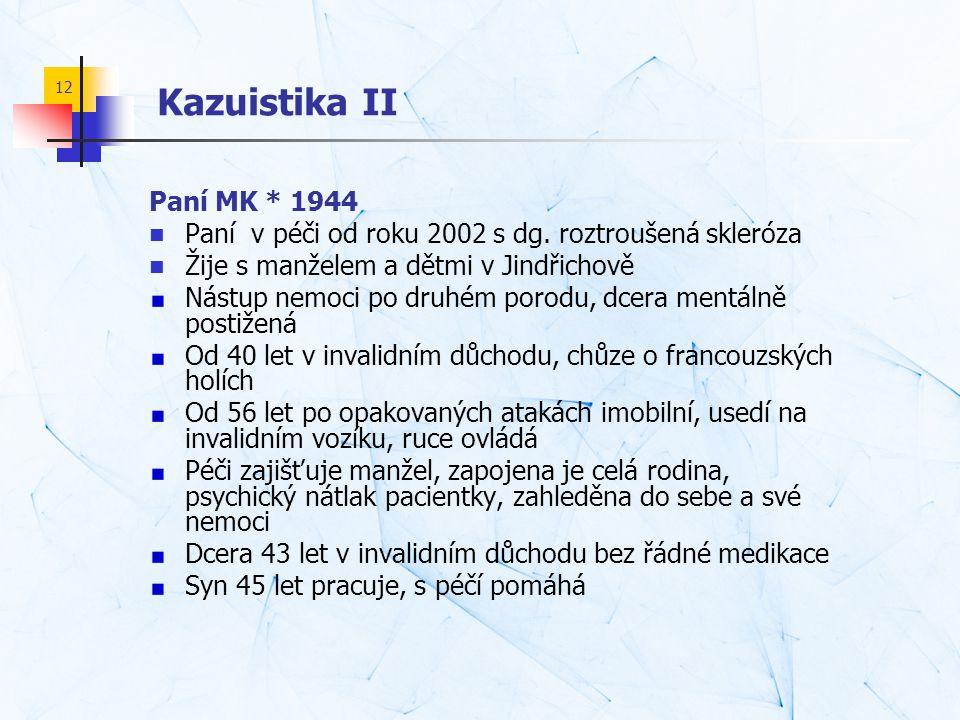 12 Kazuistika II Paní MK * 1944  Paní v péči od roku 2002 s dg. roztroušená skleróza  Žije s manželem a dětmi v Jindřichově Nástup nemoci po druhém