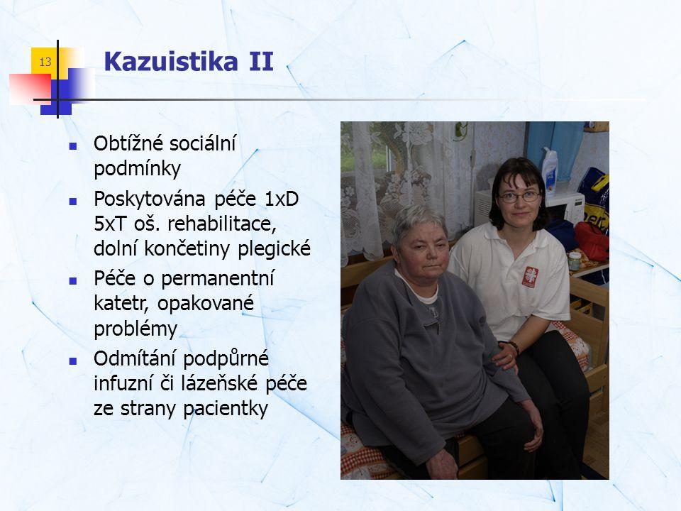 13 Kazuistika II  Obtížné sociální podmínky  Poskytována péče 1xD 5xT oš. rehabilitace, dolní končetiny plegické  Péče o permanentní katetr, opakov