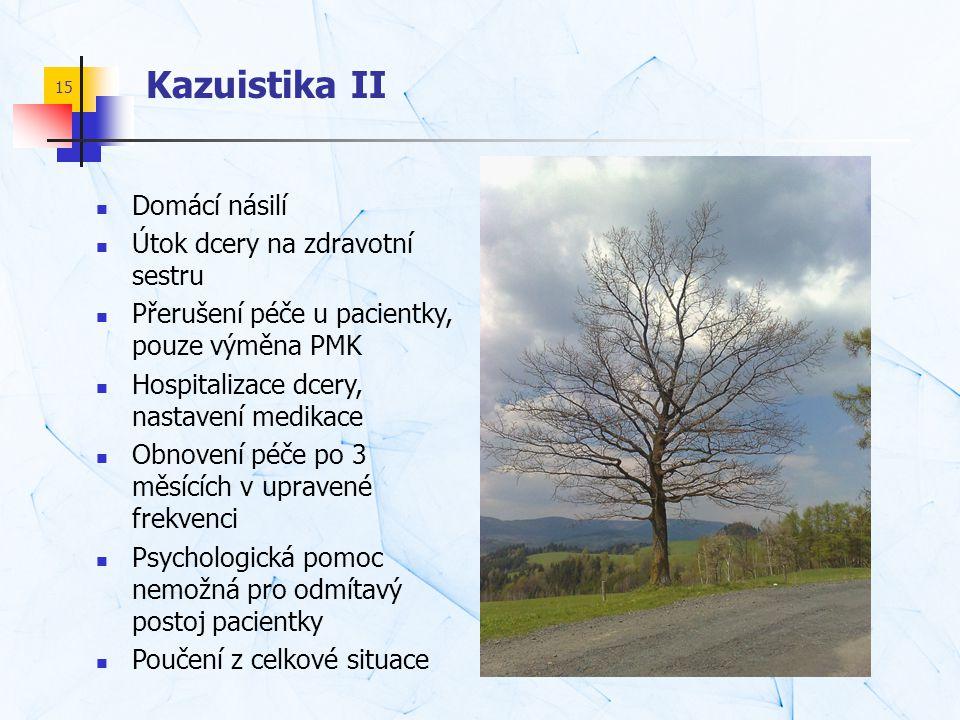 15 Kazuistika II  Domácí násilí  Útok dcery na zdravotní sestru  Přerušení péče u pacientky, pouze výměna PMK  Hospitalizace dcery, nastavení medi