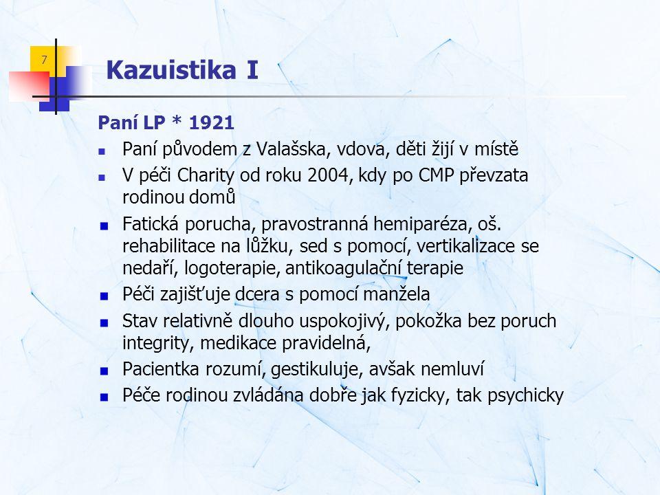 7 Kazuistika I Paní LP * 1921  Paní původem z Valašska, vdova, děti žijí v místě  V péči Charity od roku 2004, kdy po CMP převzata rodinou domů Fati