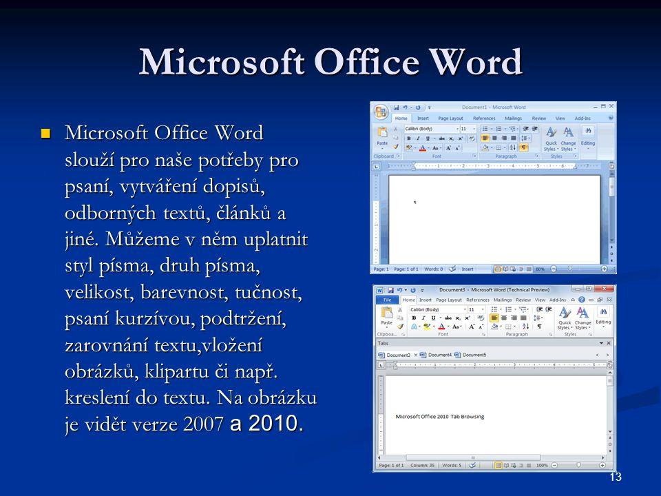 13 Microsoft Office Word  Microsoft Office Word slouží pro naše potřeby pro psaní, vytváření dopisů, odborných textů, článků a jiné. Můžeme v něm upl