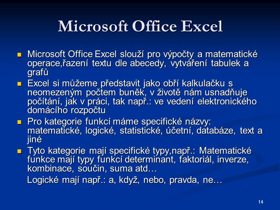 14 Microsoft Office Excel  Microsoft Office Excel slouží pro výpočty a matematické operace,řazení textu dle abecedy, vytváření tabulek a grafů  Exce