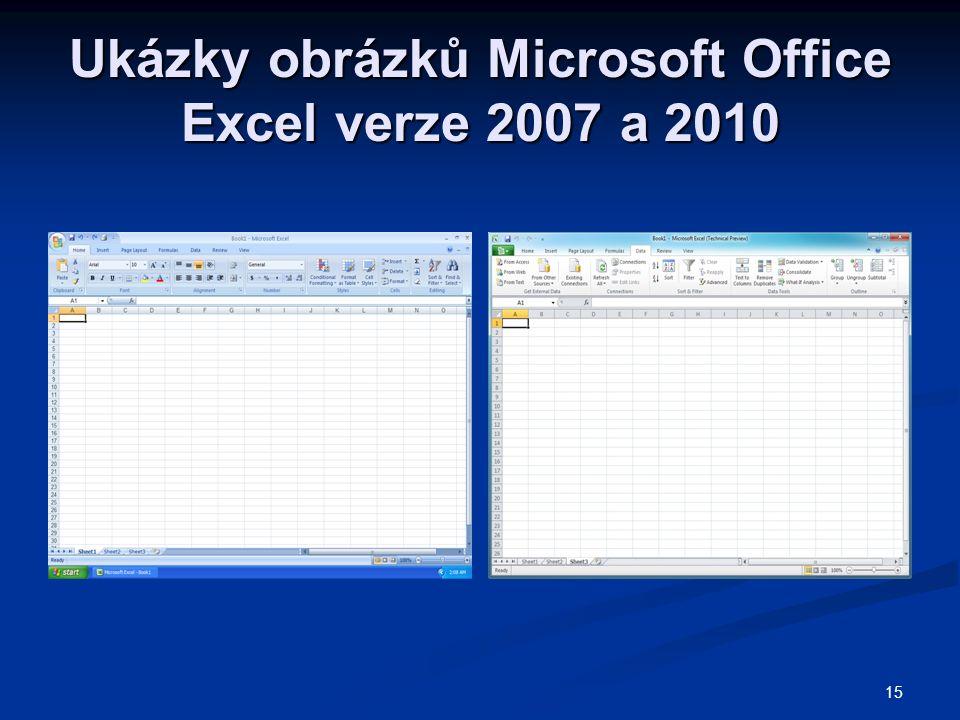 15 Ukázky obrázků Microsoft Office Excel verze 2007 a 2010