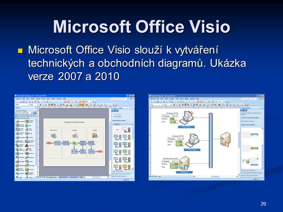 20 Microsoft Office Visio  Microsoft Office Visio slouží k vytváření technických a obchodních diagramů. Ukázka verze 2007 a 2010