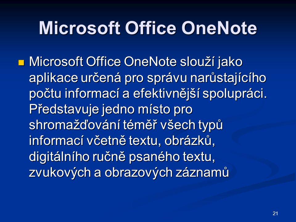 21 Microsoft Office OneNote  Microsoft Office OneNote slouží jako aplikace určená pro správu narůstajícího počtu informací a efektivnější spolupráci.