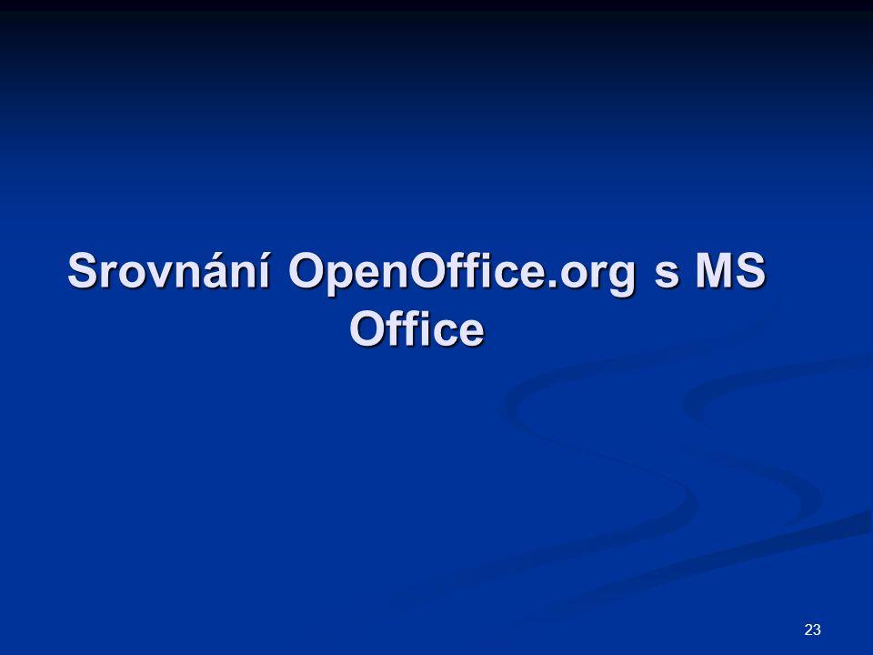 23 Srovnání OpenOffice.org s MS Office