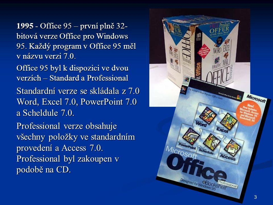 3 1995 - Office 95 – první plně 32- bitová verze Office pro Windows 95. Každý program v Office 95 měl v názvu verzi 7.0. Office 95 byl k dispozici ve
