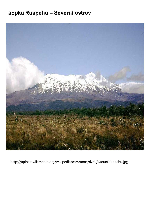 sopka Ruapehu – Severní ostrov http://upload.wikimedia.org/wikipedia/commons/d/d6/MountRuapehu.jpg