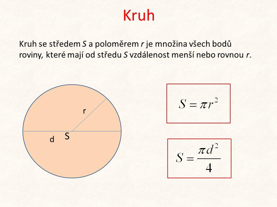 Kruh Kruh se středem S a poloměrem r je množina všech bodů roviny, které mají od středu S vzdálenost menší nebo rovnou r. S r d