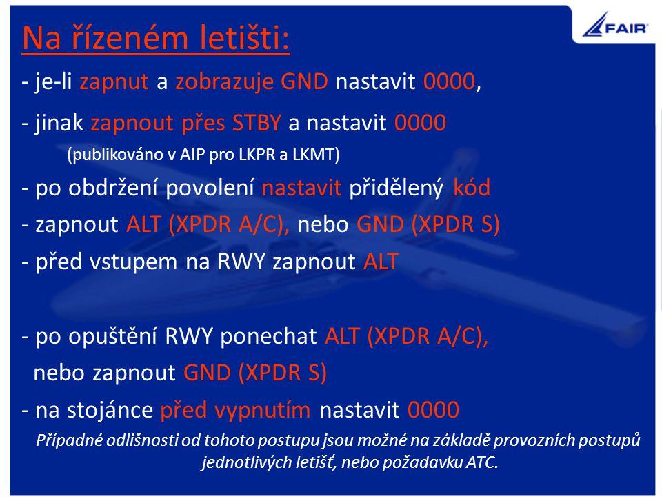A / C čtyř číselný kód / tlaková výška