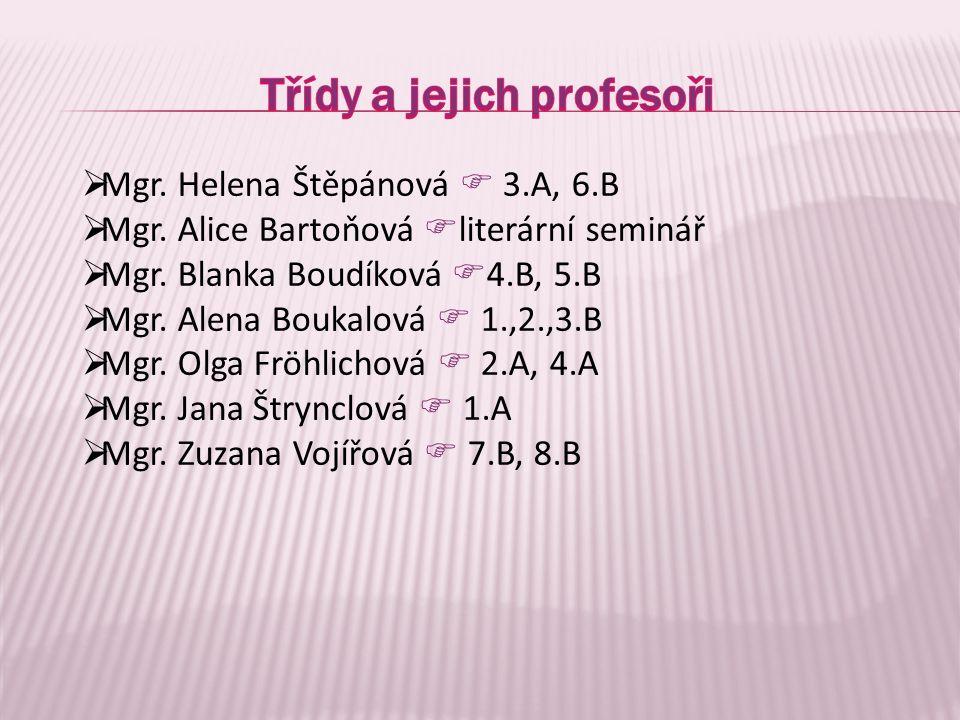  Mgr. Helena Štěpánová  3.A, 6.B  Mgr. Alice Bartoňová  literární seminář  Mgr. Blanka Boudíková  4.B, 5.B  Mgr. Alena Boukalová  1.,2.,3.B 