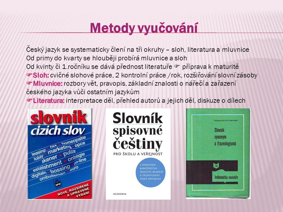 Nižší gymnázium – učebnice FRAUS Vyšší gymnázium – učebnice literatury pro jednotlivé ročníky