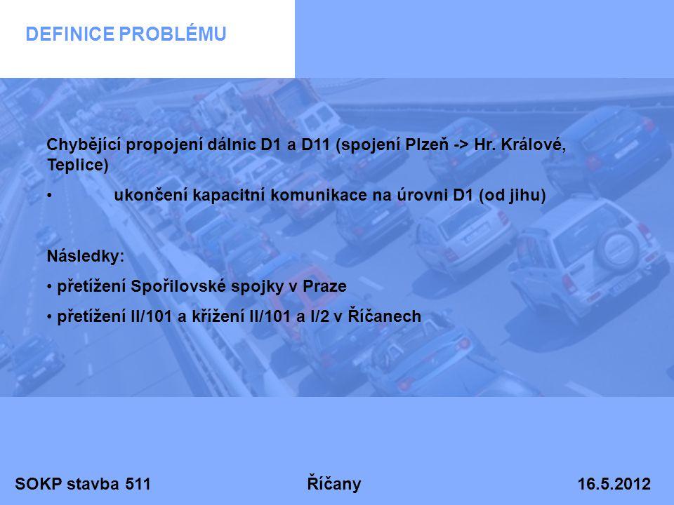 SOKP stavba 511 Říčany 16.5.2012 DEFINICE PROBLÉMU Chybějící propojení dálnic D1 a D11 (spojení Plzeň -> Hr. Králové, Teplice) •ukončení kapacitní kom