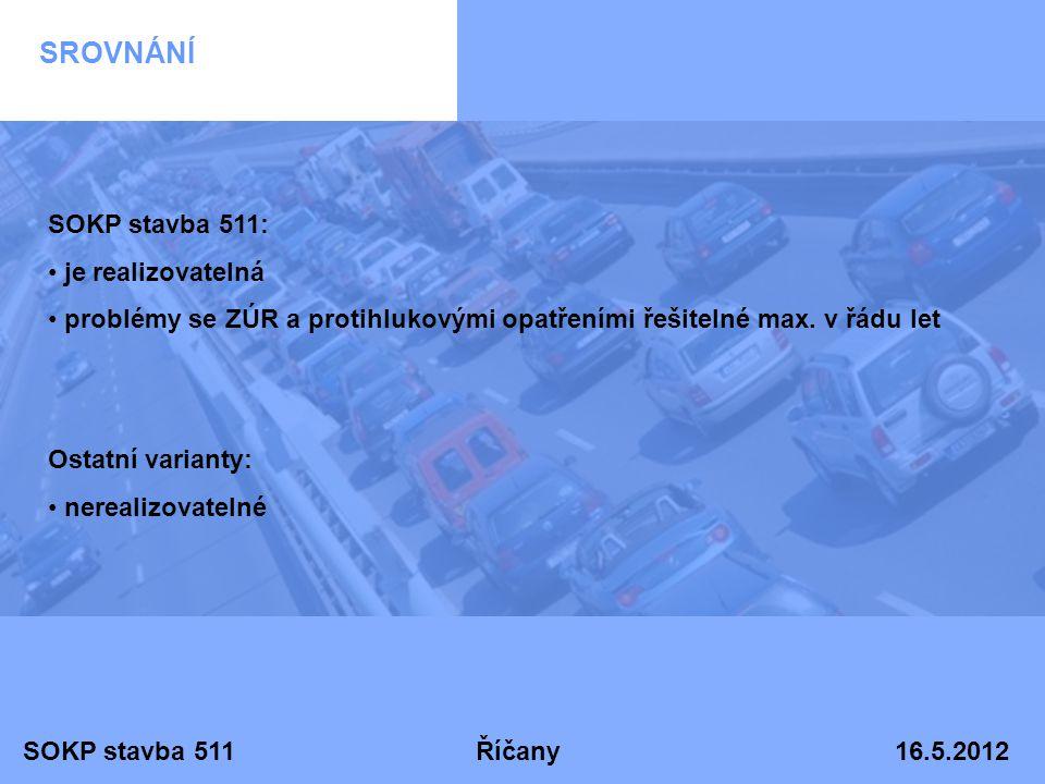 SOKP stavba 511 Říčany 16.5.2012 SROVNÁNÍ SOKP stavba 511: • je realizovatelná • problémy se ZÚR a protihlukovými opatřeními řešitelné max. v řádu let
