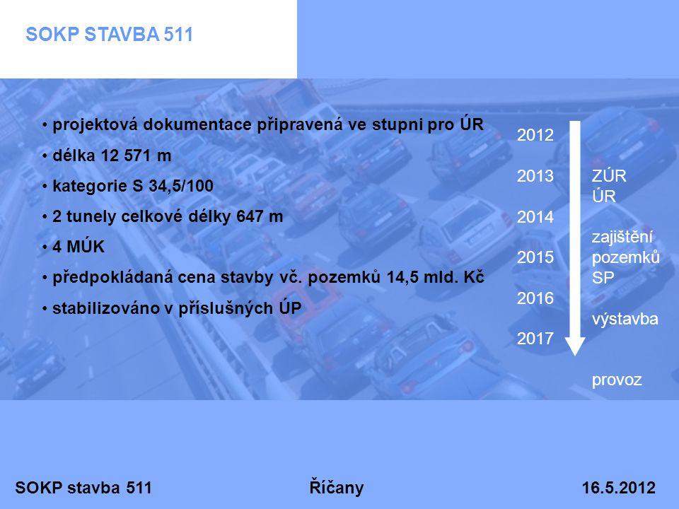 SOKP stavba 511 Říčany 16.5.2012 SOKP STAVBA 511 • projektová dokumentace připravená ve stupni pro ÚR • délka 12 571 m • kategorie S 34,5/100 • 2 tune