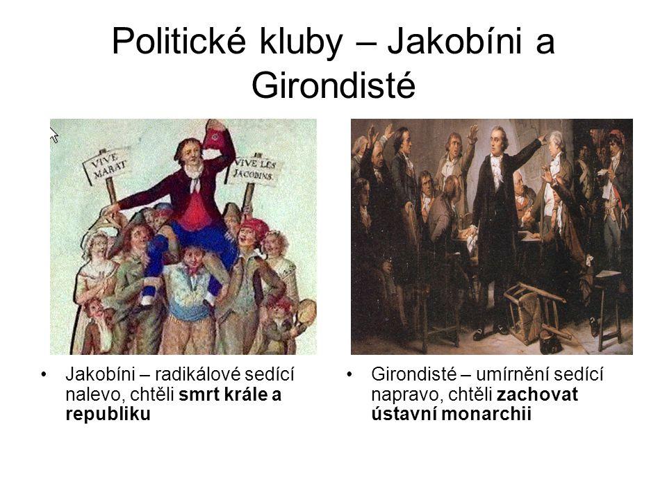 Politické kluby – Jakobíni a Girondisté •Jakobíni – radikálové sedící nalevo, chtěli smrt krále a republiku •Girondisté – umírnění sedící napravo, cht