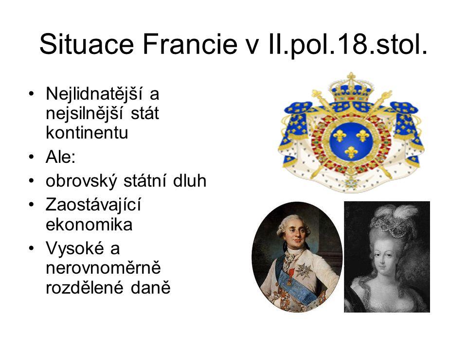 Situace Francie v II.pol.18.stol. •Nejlidnatější a nejsilnější stát kontinentu •Ale: •obrovský státní dluh •Zaostávající ekonomika •Vysoké a nerovnomě